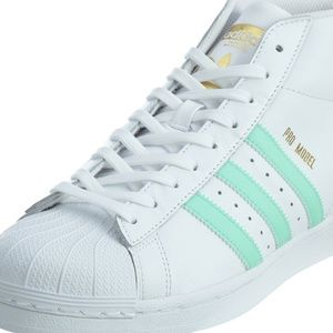 Adidas Pro Model White Electric Green Gold Leather